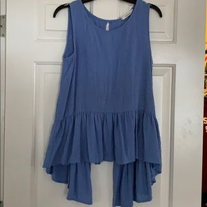 A blue tank top with an open back!